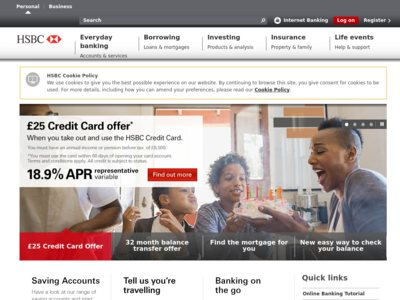 Screenshot of hsbc.co.uk